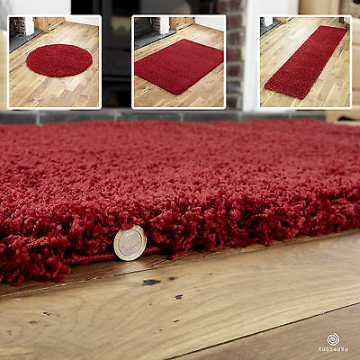 Modern Soft 5Cm High Pile Shaggy Rugs In Red Small Extra Large Runner Circle