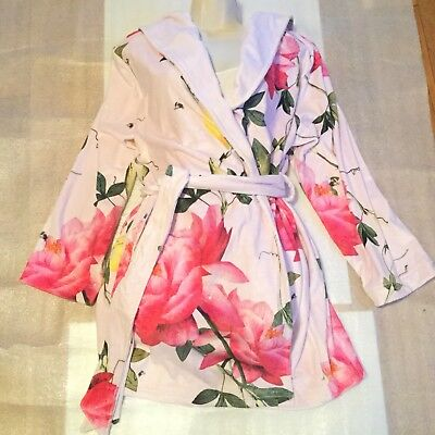 03918143cc10f8 B By Ted Baker Citrus Bloom Short Robe Pink Dressing Gown Size 12 -14 Medium