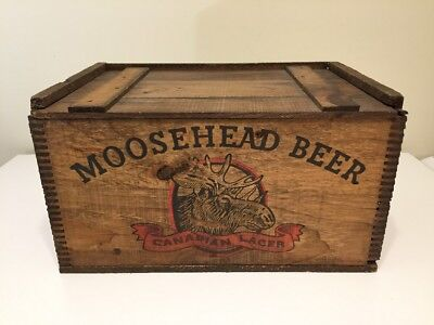 Rare Vintage Moosehead Beer Canadian Lager Wooden Crate Dovetailed WITH BOX