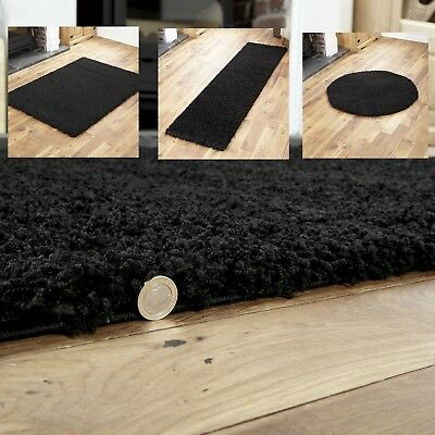 New Small Extra - Large Runner Round Circle Shaggy Rugs Thick High Pile In Black