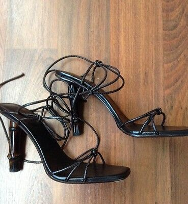 ec230c588411 GUCCI BAMBOO HEEL Tom Ford Designed Ankle Wrap Sandals ~8 1 2 ...