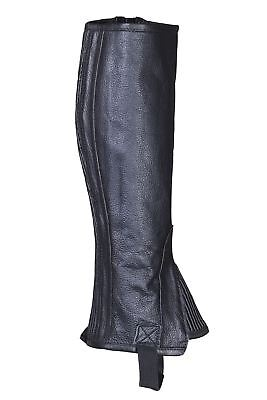 Genuine Leather Horse Equestrian Riding Gaiters/half Chaps Black
