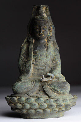 Antiker Buddha China Bronze Guan Yin antique Ming Stil P13