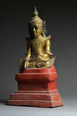 Alter Buddha Burma 53 cm Holz Inschrift Gold Lacquer antique antik Thailand Yoga