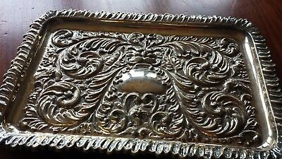"Antique Silver plated on copper rectangle tray 'Robert Pringle & Sons"" mark"