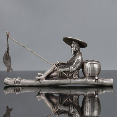 Old Chinese Tibet Silver Hand Carved Fisherman & His Bamboo Raft Statue
