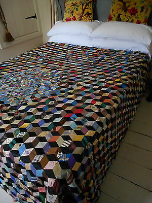A Very Fine & Rare Antique Victorian Silk Patchwork Quilt Bedspread Museum Piece