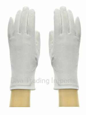 Short Wrist 9-inch Formal Bridal Shinny Stretch Satin Gloves