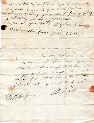 18th Century, Worcester, Mass. letter group to Dr. John Green, payment issues
