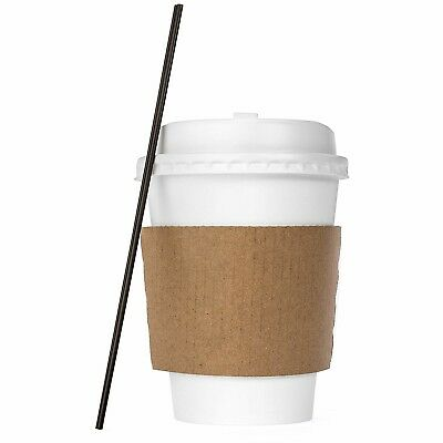 Coffee Bar Supplies Disposable Hot Paper Coffee Cups Lids Sleeves 120 Pack 12Oz