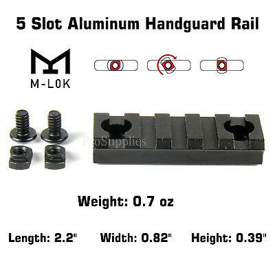 M-Lok Aluminum Handguard Rail 5 Slot Picatinny Weaver for MLOK
