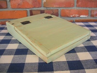 SALE - Wood Lap Writing Desk with Hinged Lid - Light Sage Green - Very Rustic