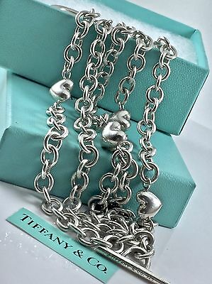 d07864d93 Tiffany & Co. Silver 5 Strand Chain Puff Heart Charm Toggle Bracelet 8in  1876C