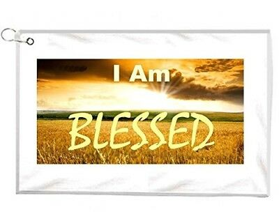 I Am Blessed Religious Slogan Novelty Golf Towel Golfers Accessories Cleaning