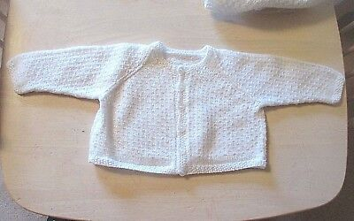 Lovely vintage baby cardigan white hand knit by nana  0-3 months