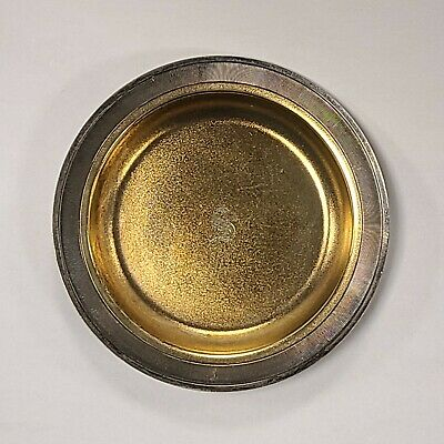 Whiting Sterling Silver Gold Wash Textured Rim Butter Pats Nut Trinket Coin Dish