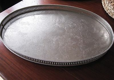 Antique Silver plated on copper oval serving tray 'Sheffield England'