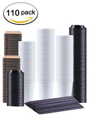 Disposable Coffee Cups 12 oz 110 Count With Lids Sleeves and Straws Kindpack