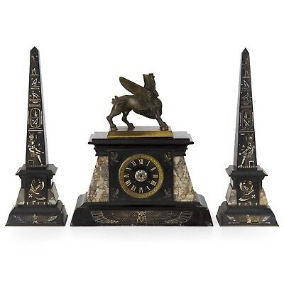 French Antique Egyptian Revival Mantel Clock & Pair of Obelisk Garniture c. 1880