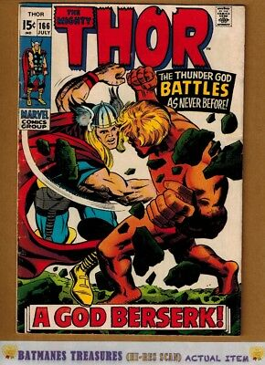 The Mighty Thor #166 (4.0) VG 2nd Adam Warlock Appearance 1969 By Stan Lee