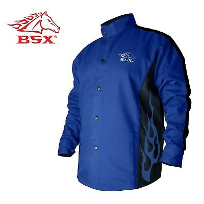 BSX Flame-Resistant Welding Jacket - Blue with Blue Flames, Size Medium