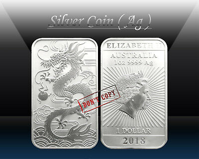 AUSTRALIA $1 DOLLAR 2018 ( ORIENTAL DRAGON ) RECTANGULAR 1oz SILVER Coin * UNC