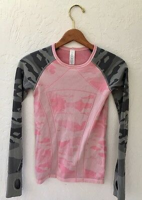 Ivivva by Lululemon long Sleeve Pink and Gray Camo Size M