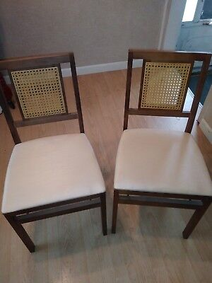 Set Of 6 Vintage Stakmore Cane Back Mid Century Modern Wood Folding Chairs