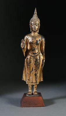 Thai Gilt Bronze Standing Figure Of Buddha With Hands In Abhaya Mudra