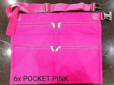 6 Pocket Market Trader Pink Money Bag