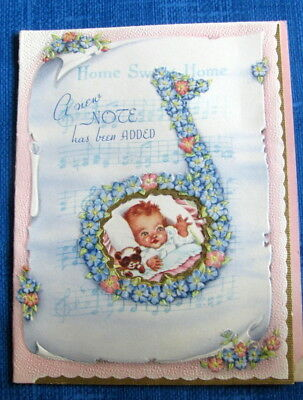 gorgeous music theme vintage baby congratulations greeting card a new note 40s