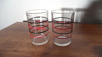 LOT 4 - 2 NOT PICTURED Red Black Striped Swanky Swig Vintage Juice Glasses