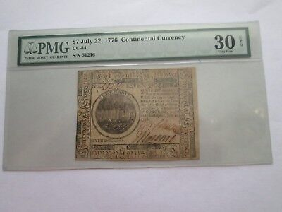 1776 $7 Continental Currency PMG Graded EPQ, RARE!