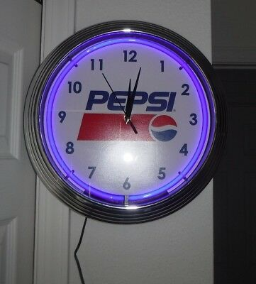 Pepsi Blue Neon Light Clock 15 Inch NEW & Tested