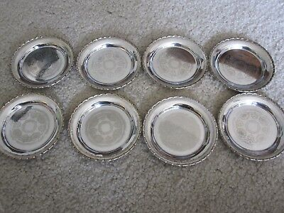 "Set of 8 Vintage Silver Coasters Made In Sweden 3 3/4"" Across - Great Condition"