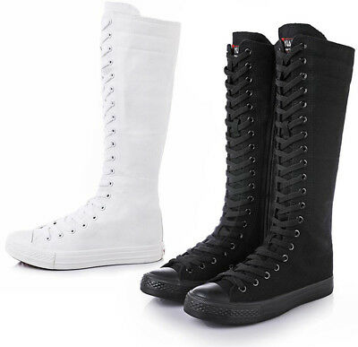 Womens Girls Lace Up Canvas Knee High Sneakers Zip Boots Punk Gothic Dance Shoes