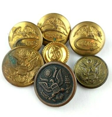 Lot of Vintage Mixed Military Buttons Gold Toned Brass Metal Extra Quality
