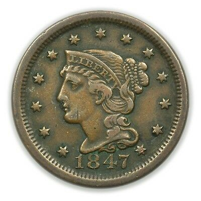 1847 Braided Hair Large Cent, Early Type Copper Coin [3772.01]