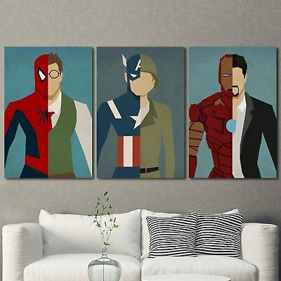 Super Hero Painting Poster 3PCS HD Canvas Print Home Decor Room Wall Art Picture