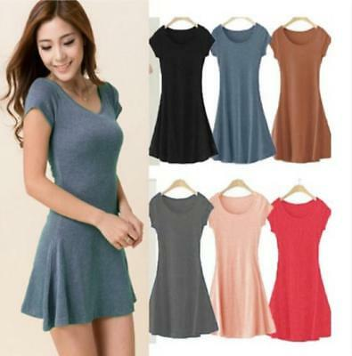 Good 2018 Women Summer Casual Mini Dress Ladies Summer Short Sleeve Cotton Dress