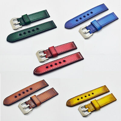 Genuine Leather Watch Strap Vintage Bracelet Retro Thick Wrist Band 22mm 24mm