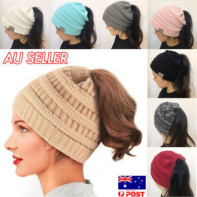 Women Girls Ponytail Beanie Winter Soft Stretch Cable Knit Crochet High Bun OU