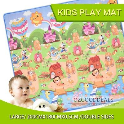 XL Large 2x1.8m Baby Nursery Play Mat Floor Rug Animal & Alphabet 5mm Thick EF