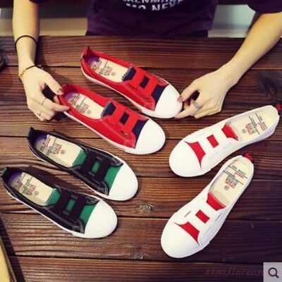 Womens Canvas round toe comfortable Korean slip on multi-color flat heel shoes