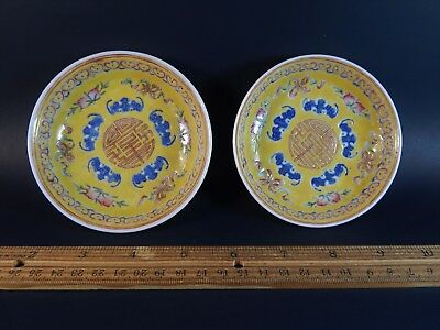 Two Antique Vintage Yellow Famille Rose Five Bat Shou Wufu Saucer Dishes Signed
