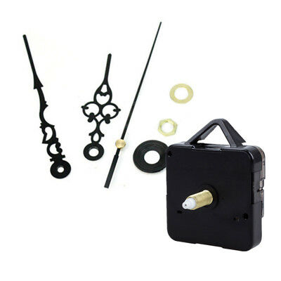 Silent Mechanism Quartz Wall Clock Movement Motor Repair Kit Long Black Hands UK