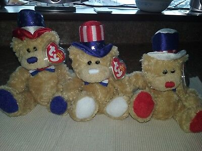 """Ty Beanie Babies """" Independence """" Bears (Set Of 3)  Red,white & Blue Versions"""
