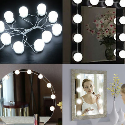 Hollywood stile 10 LED specchio vanity LUCI Kit per MakeUp Trucco Toletta Set