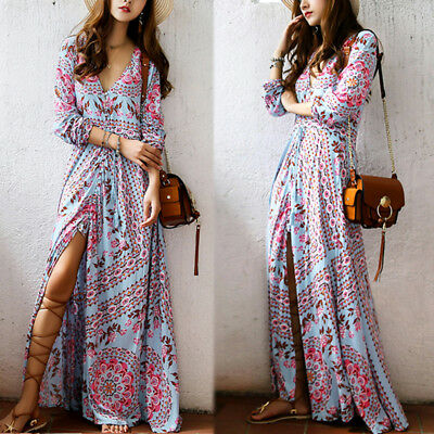 Women Casual V Neck Flare Boho Floral Long Maxi Sundress Club Party Beach Dress