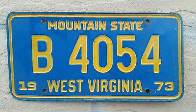 1973 West Virginia ~ Mountain State ~ TRUCK License Plate #B 4054  W VA